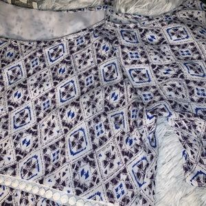 Skies Are Blue Tops - Stitch fix| lace overlay top size large new